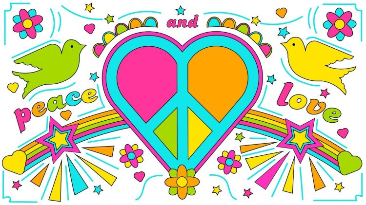 "Psychedelic 1960s ""Peace and Love"" drawing of doves, flowers, and heart with peace sign inside it."